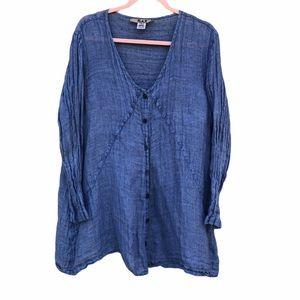 Flax Blue Linen Large Top Shirt Tunic Lagen Look